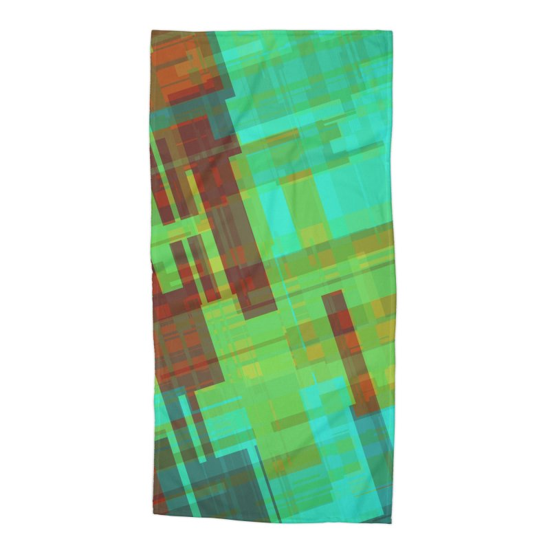 ORange and green abstract Accessories Beach Towel by Christy Leigh Creative