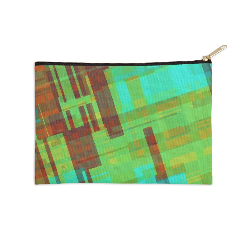 ORange and green abstract Accessories Zip Pouch by Christy Leigh Creative