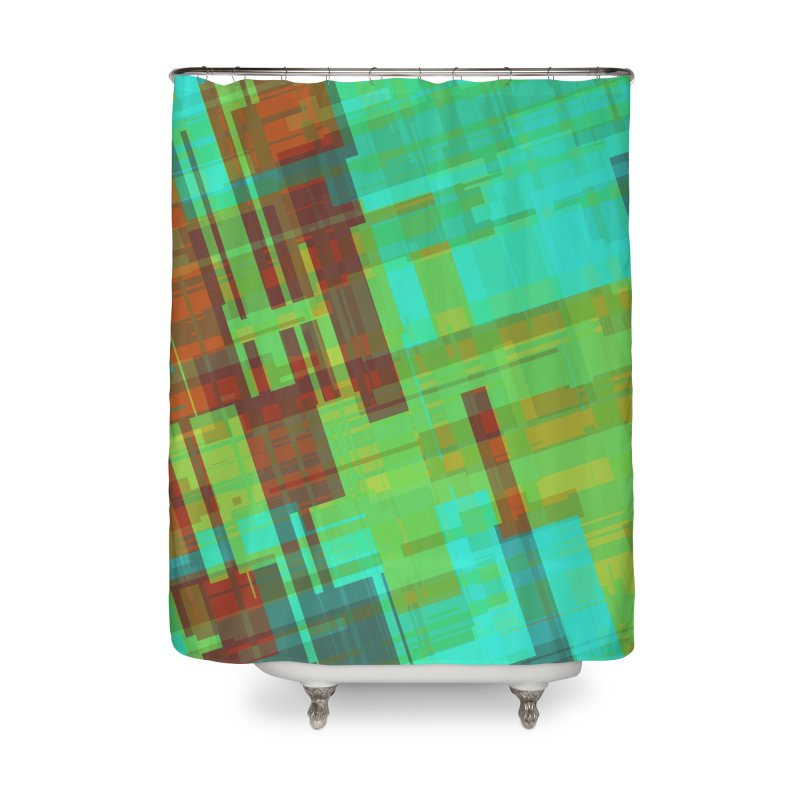 ORange and green abstract Home Shower Curtain by Christy Leigh Creative