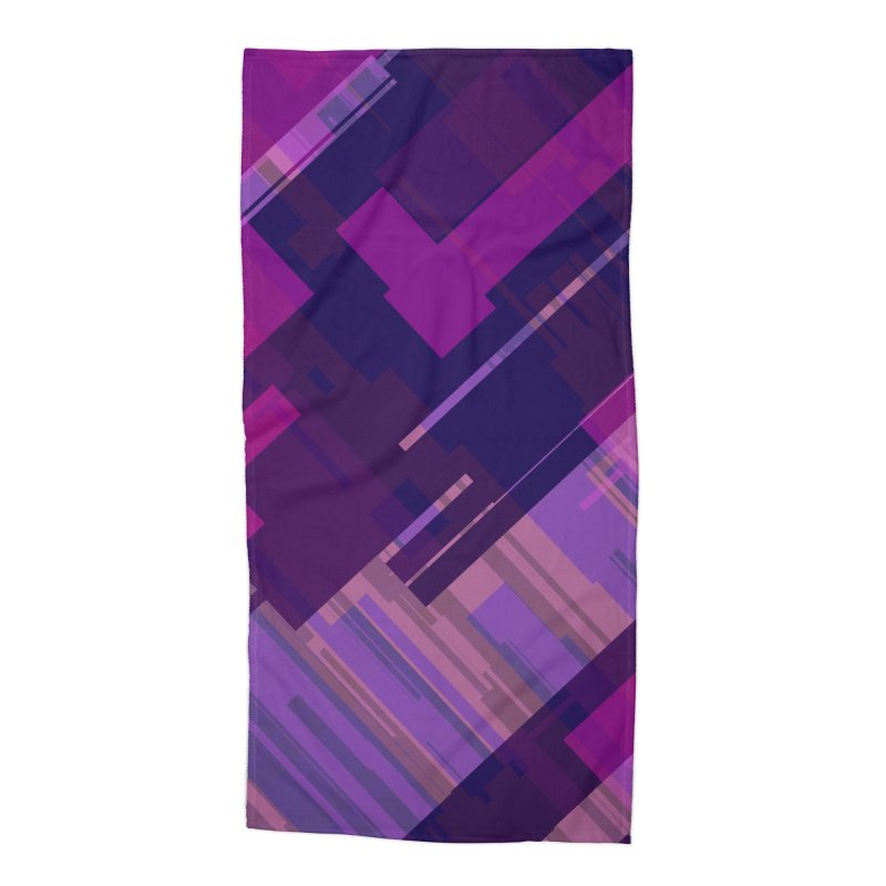 purple abstract Accessories Beach Towel by Christy Leigh Creative