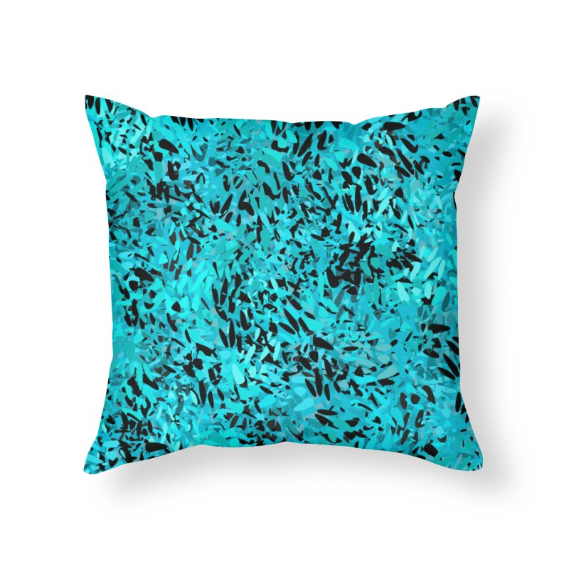Turquoise and Black Abstract Home Throw Pillow by Christy Leigh Creative