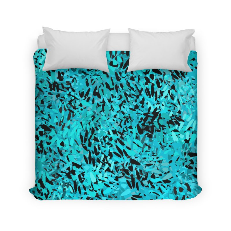 Turquoise and Black Abstract Home Duvet by Christy Leigh Creative