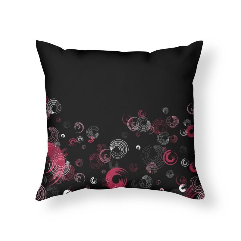 Crimson Swirl Black Home Throw Pillow by Christy Leigh Creative