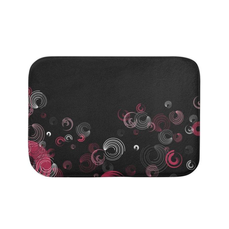 Crimson Swirl Black Home Bath Mat by Christy Leigh Creative