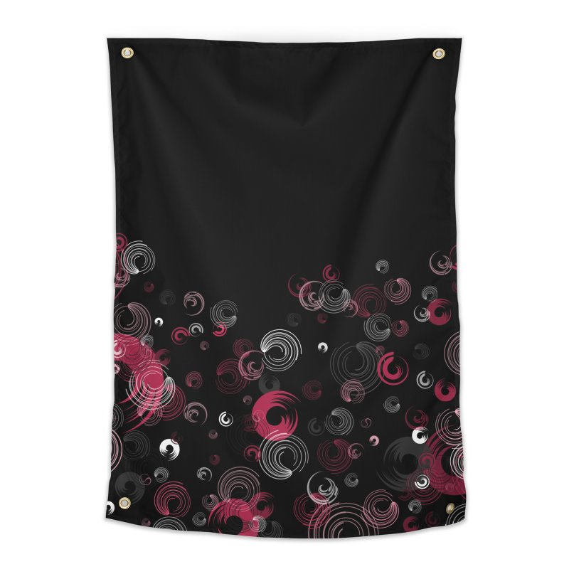 Crimson Swirl Black Home Tapestry by Christy Leigh Creative