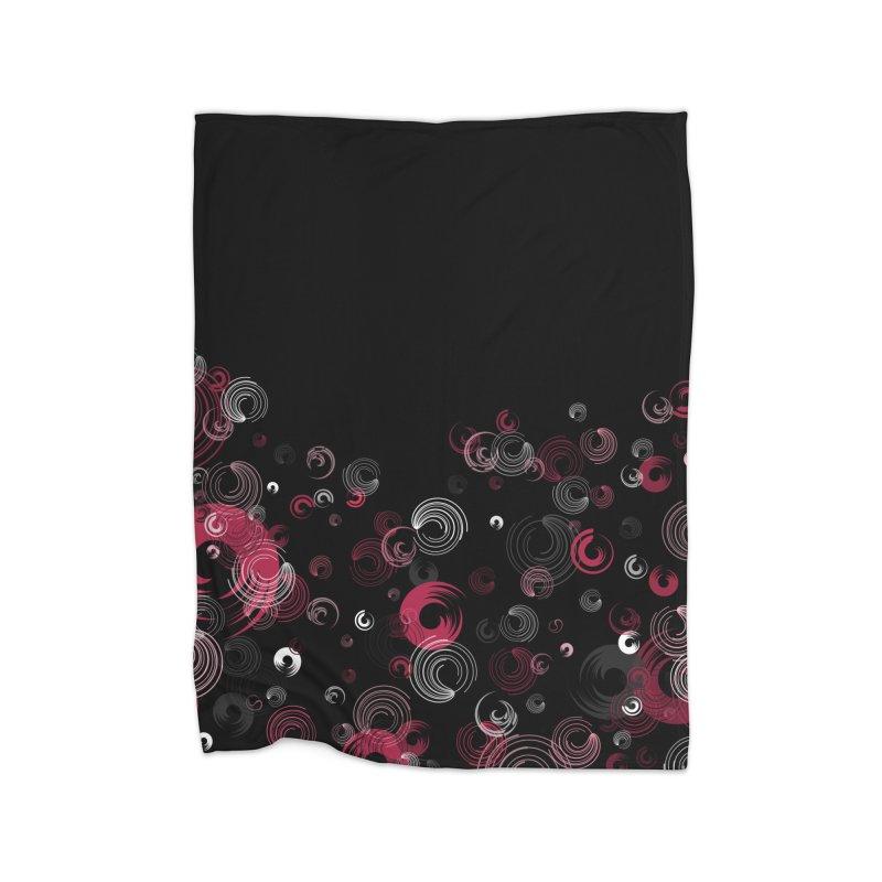 Crimson Swirl Black Home Blanket by Christy Leigh Creative