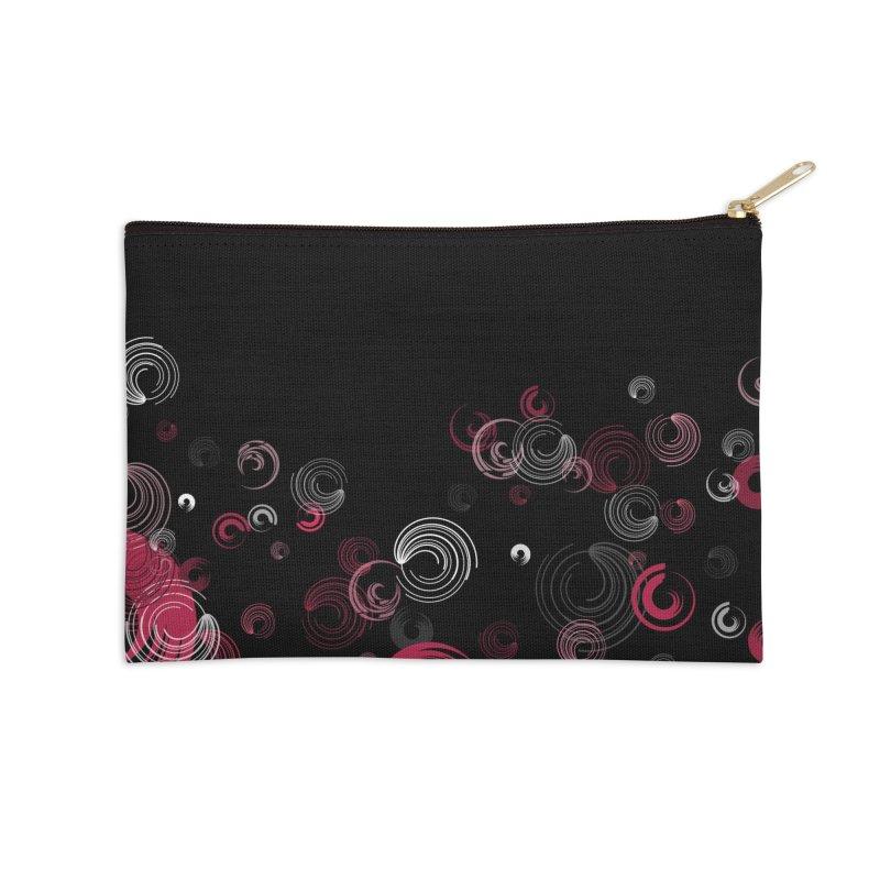 Crimson Swirl Black Accessories Zip Pouch by Christy Leigh Creative