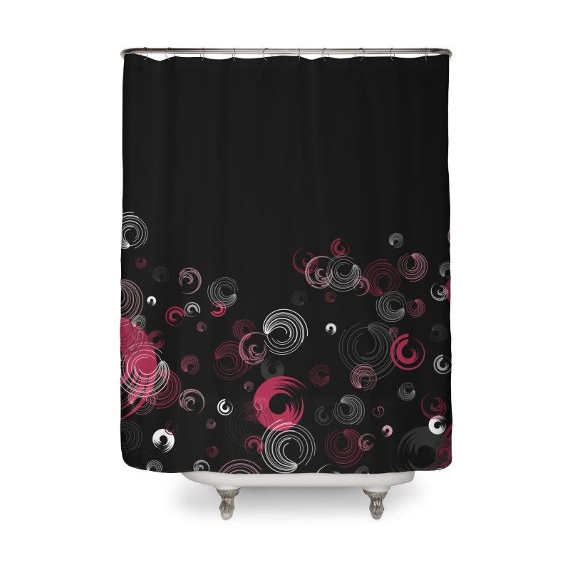 Crimson Swirl Black Home Shower Curtain by Christy Leigh Creative