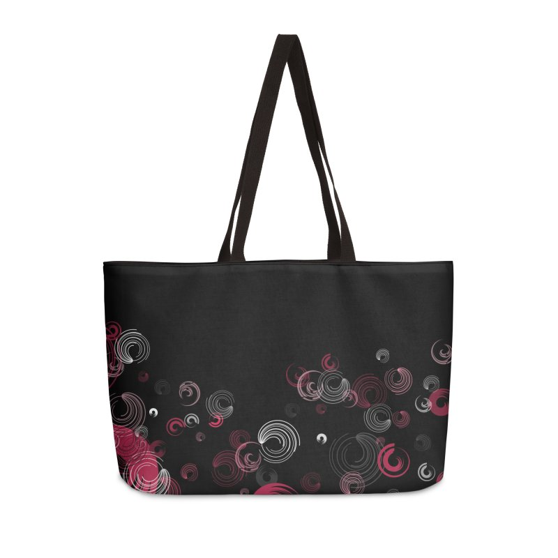Crimson Swirl Black Accessories Weekender Bag Bag by Christy Leigh Creative