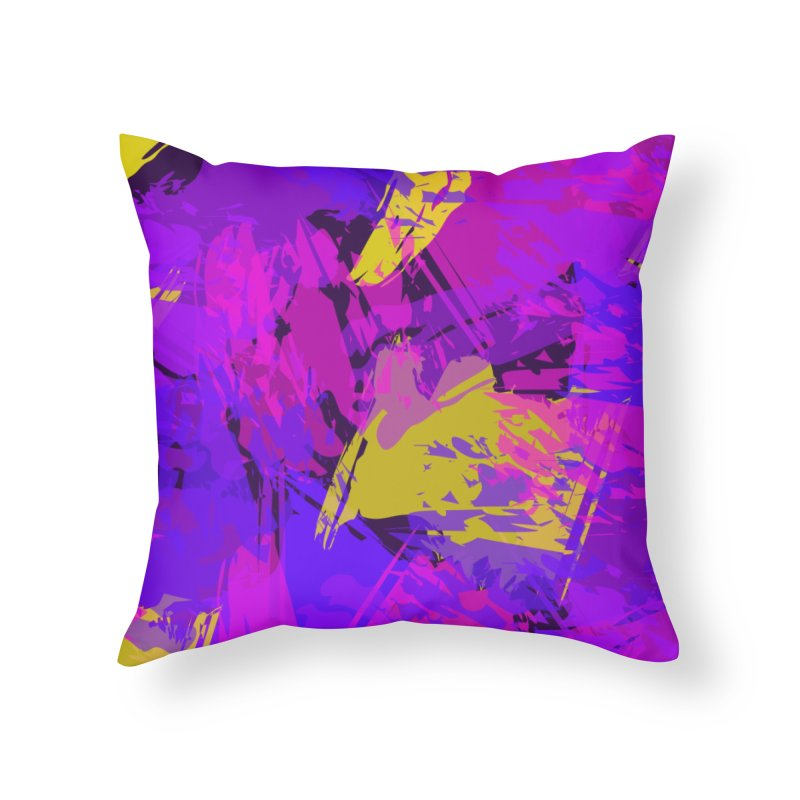 Pink Purple and Yellow Attack Home Throw Pillow by Christy Leigh Creative