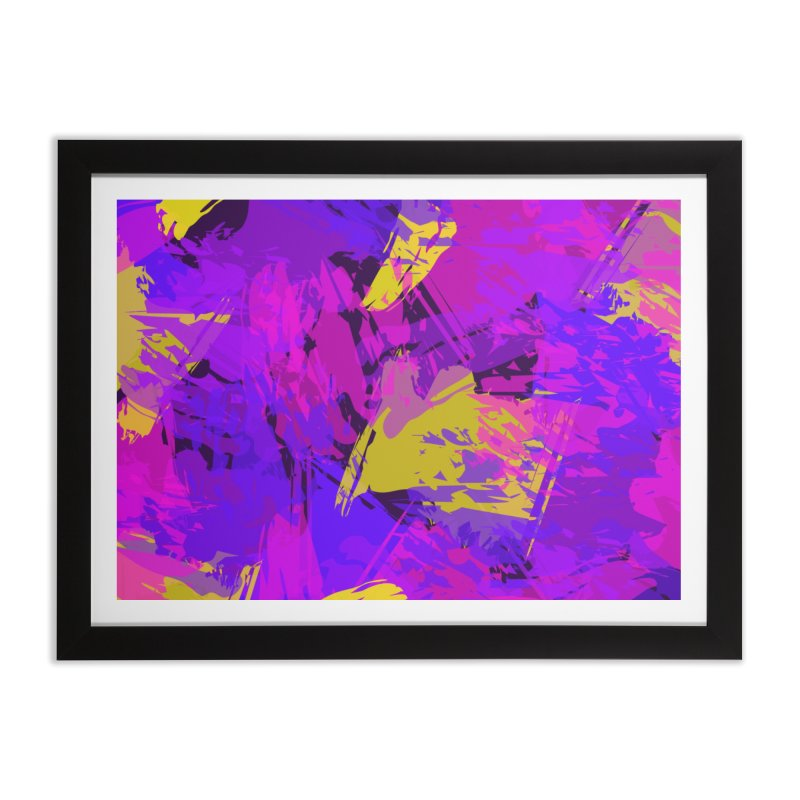 Pink Purple and Yellow Attack Home Framed Fine Art Print by Christy Leigh Creative