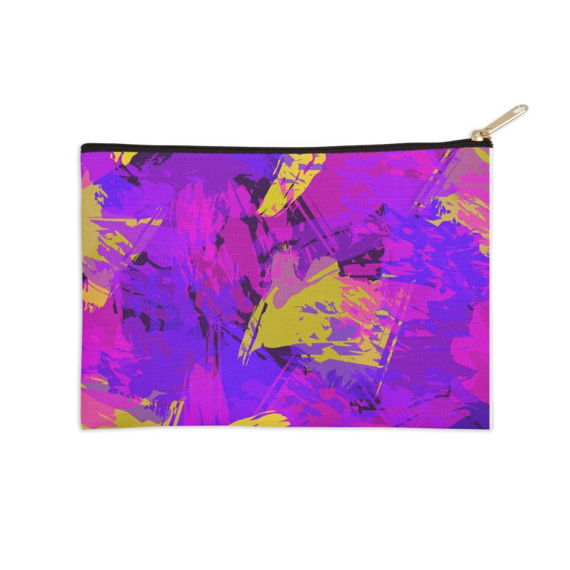 Pink Purple and Yellow Attack Accessories Zip Pouch by Christy Leigh Creative
