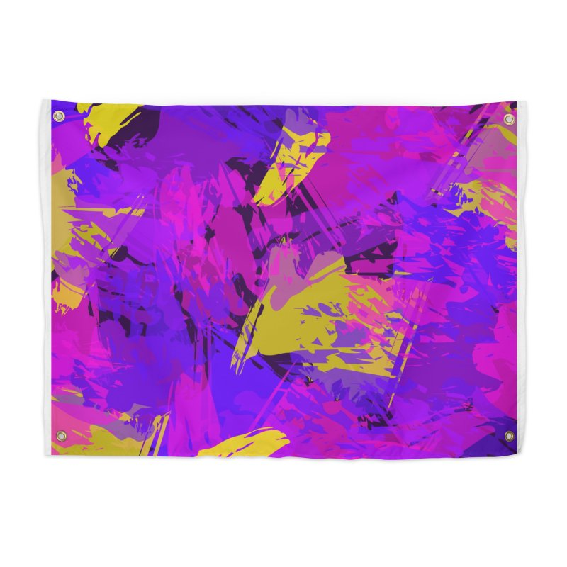 Pink Purple and Yellow Attack Home Tapestry by Christy Leigh Creative