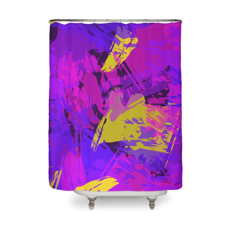 Pink Purple and Yellow Attack Home Shower Curtain by Christy Leigh Creative