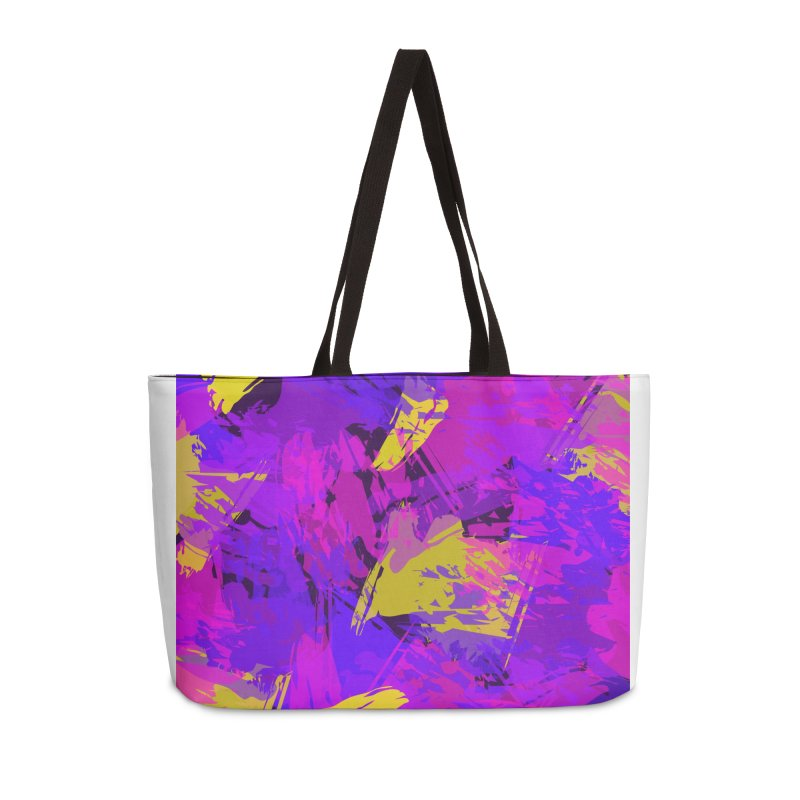 Pink Purple and Yellow Attack Accessories Weekender Bag Bag by Christy Leigh Creative