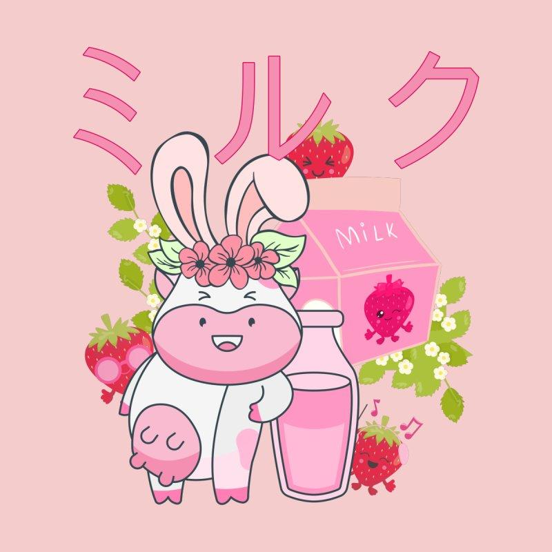 Retro Japanese Strawberry Milk Kawaii Easter Cow Bunny Spring Floral Men's T-Shirt by CWartDesign's Artist Shop