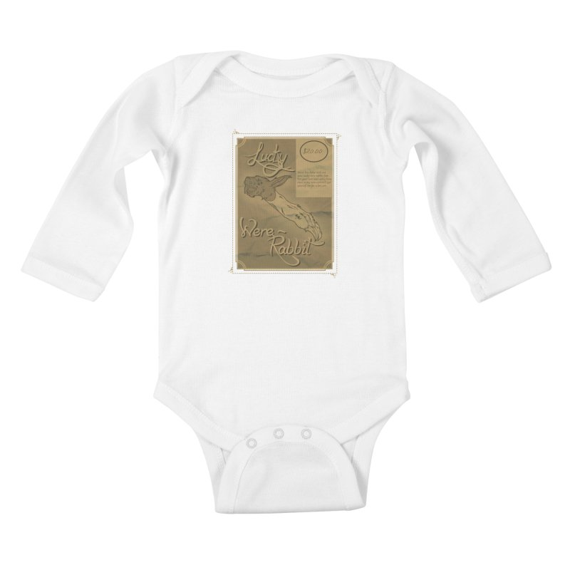 Lucky Were-Rabbits foot ad Kids Baby Longsleeve Bodysuit by Calahorra Artist Shop