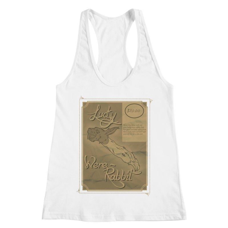 Lucky Were-Rabbits foot ad Women's Racerback Tank by Calahorra Artist Shop