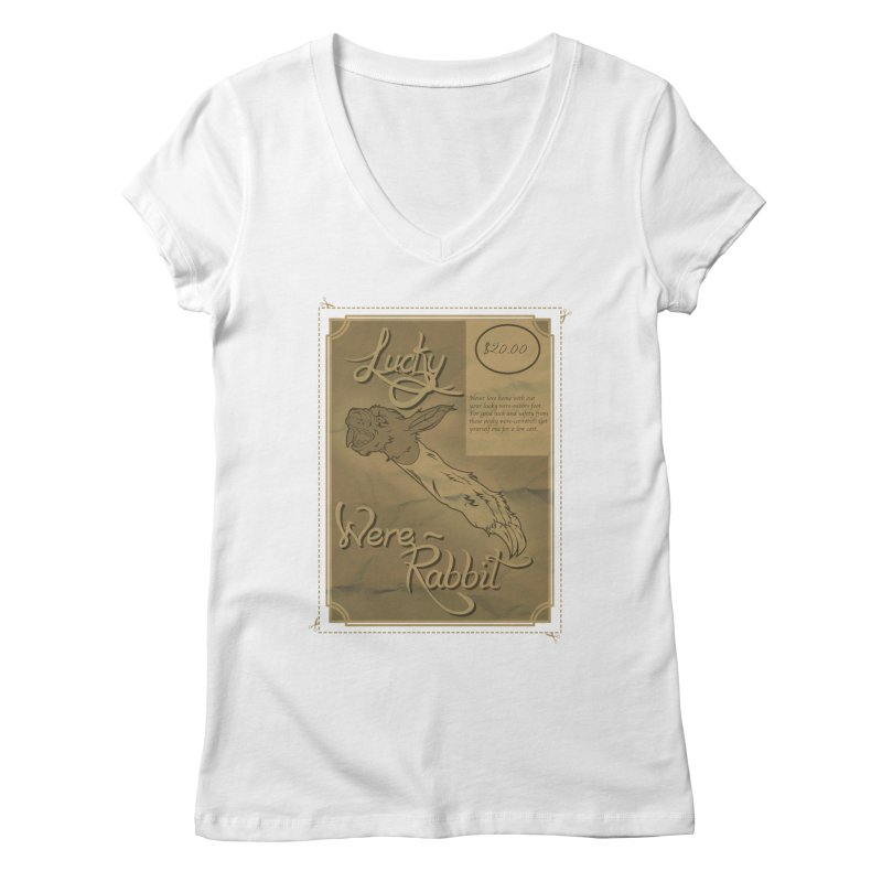 Lucky Were-Rabbits foot ad Women's V-Neck by Calahorra Artist Shop