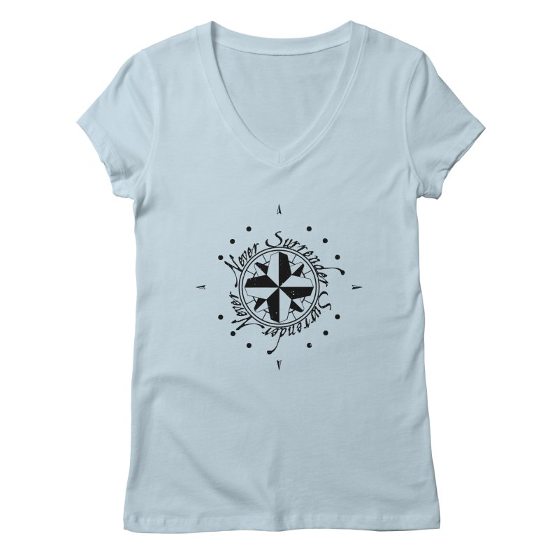 Never Surrender Women's V-Neck by Calahorra Artist Shop