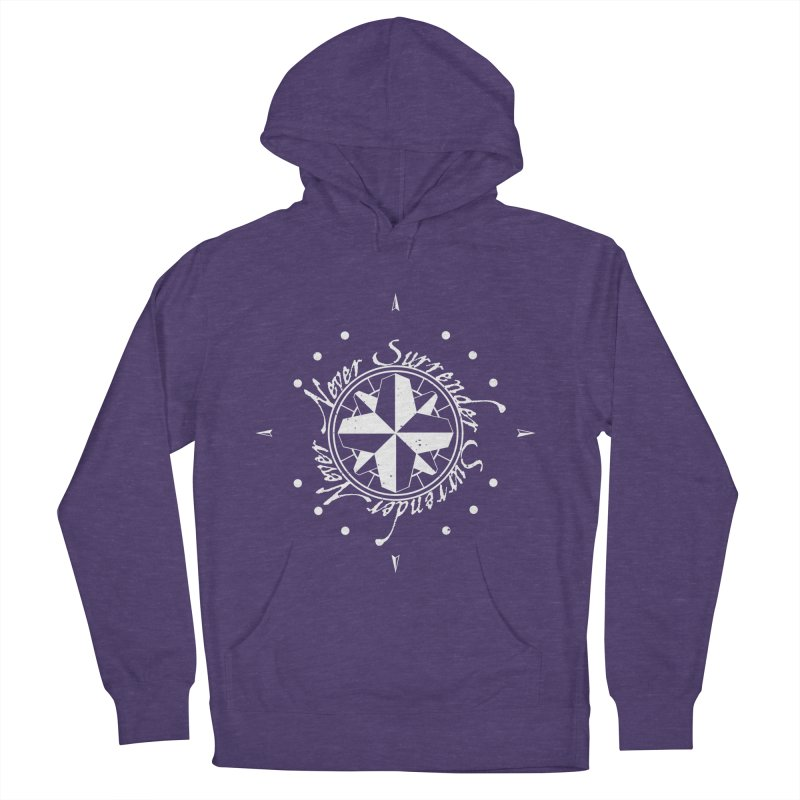Never Surrender in white  Women's French Terry Pullover Hoody by Calahorra Artist Shop