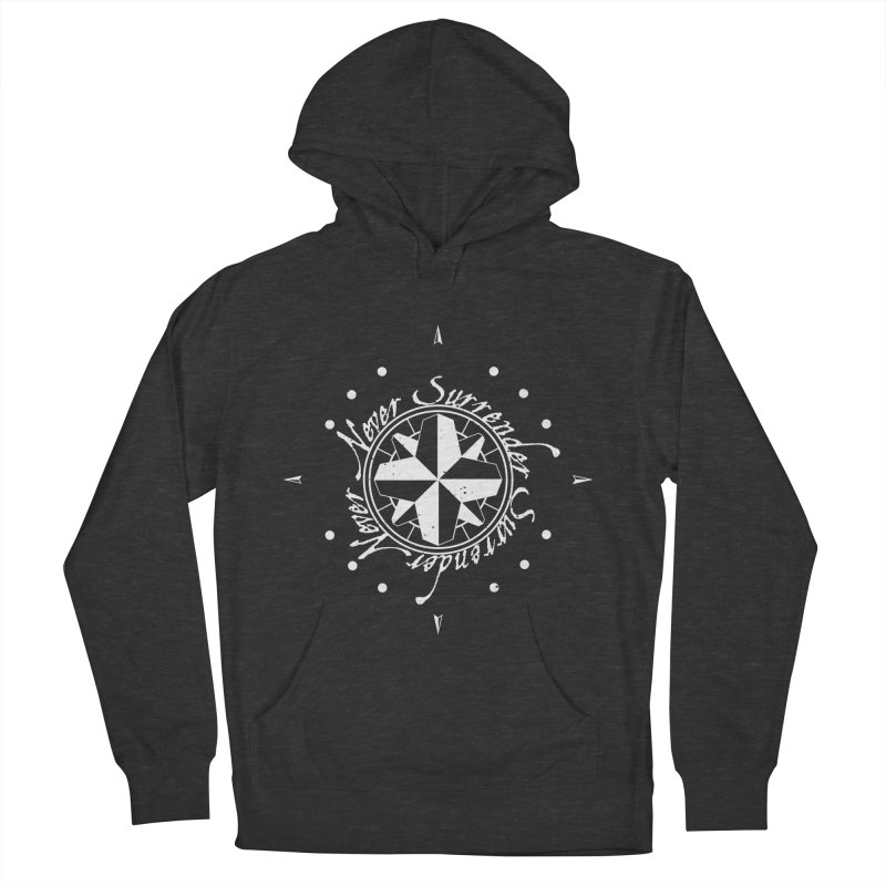Never Surrender in white  Men's French Terry Pullover Hoody by Calahorra Artist Shop
