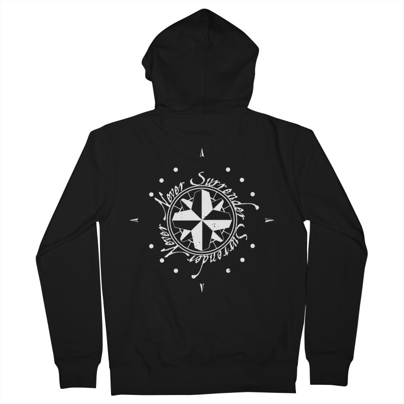 Never Surrender in white  Women's French Terry Zip-Up Hoody by Calahorra Artist Shop