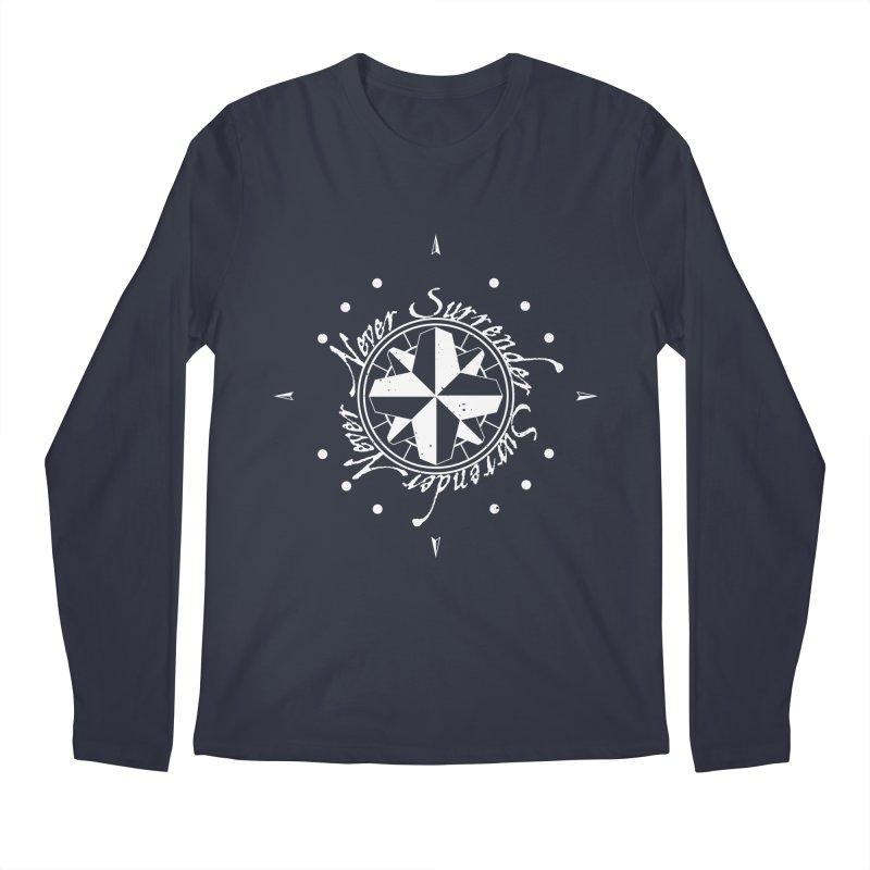 Never Surrender in white  Men's Regular Longsleeve T-Shirt by Calahorra Artist Shop