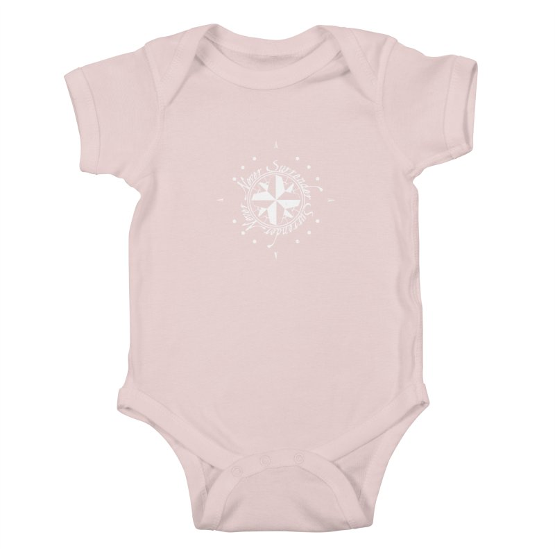 Never Surrender in white  Kids Baby Bodysuit by Calahorra Artist Shop