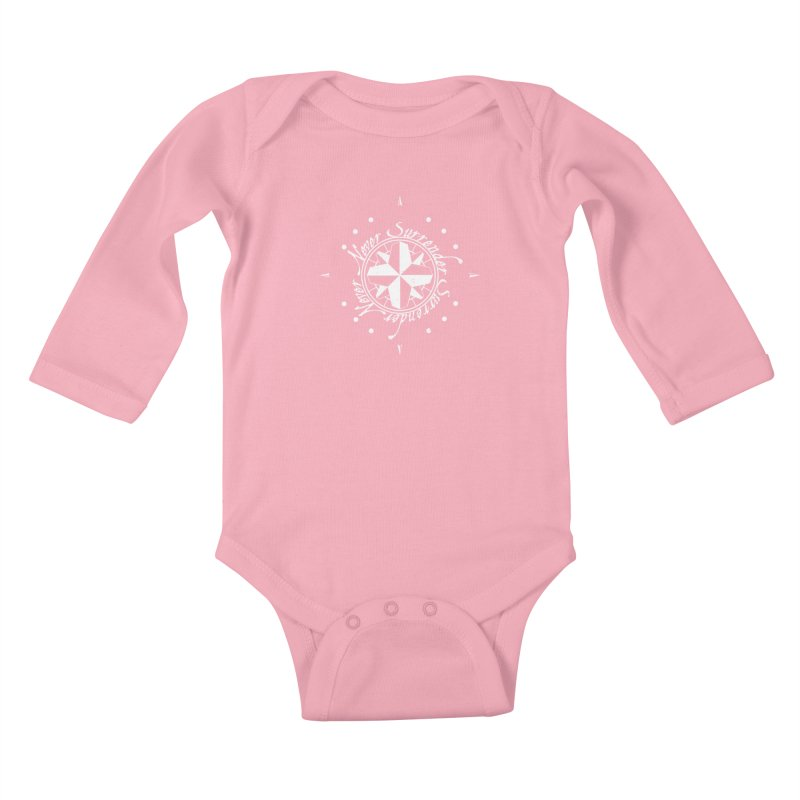 Never Surrender in white  Kids Baby Longsleeve Bodysuit by Calahorra Artist Shop