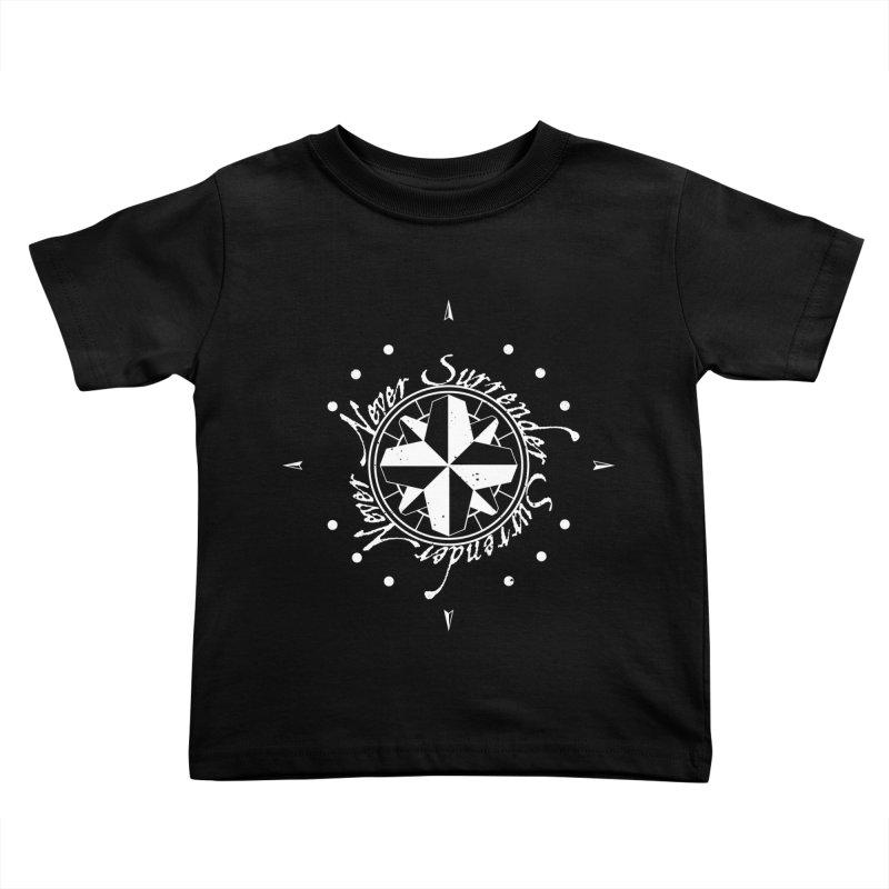 Never Surrender in white  Kids Toddler T-Shirt by Calahorra Artist Shop