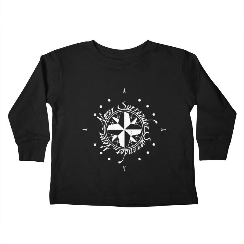 Never Surrender in white  Kids Toddler Longsleeve T-Shirt by Calahorra Artist Shop