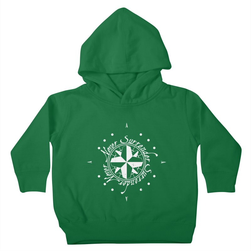 Never Surrender in white  Kids Toddler Pullover Hoody by Calahorra Artist Shop