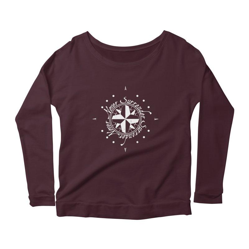 Never Surrender in white  Women's Scoop Neck Longsleeve T-Shirt by Calahorra Artist Shop