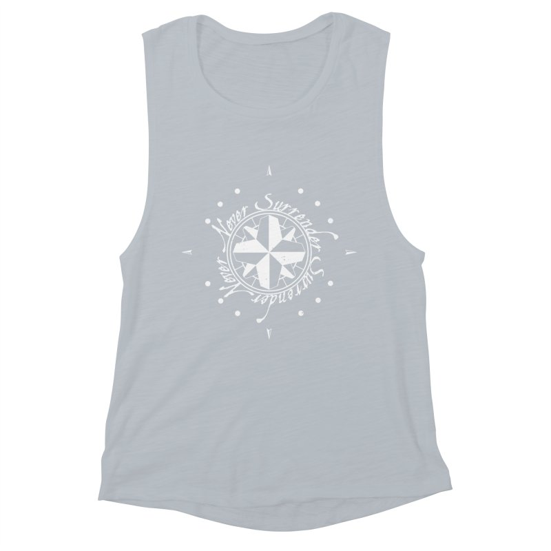 Never Surrender in white  Women's Muscle Tank by Calahorra Artist Shop