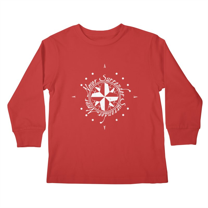 Never Surrender in white  Kids Longsleeve T-Shirt by Calahorra Artist Shop