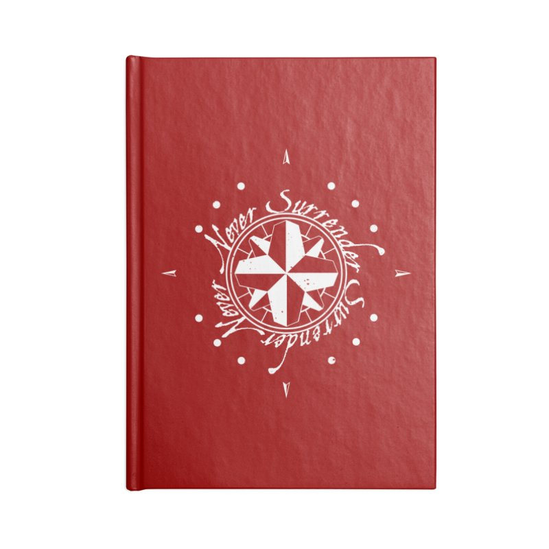 Never Surrender in white  Accessories Notebook by Calahorra Artist Shop