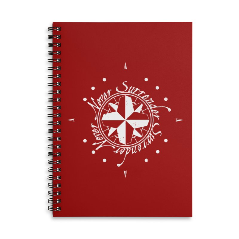 Never Surrender in white  Accessories Lined Spiral Notebook by Calahorra Artist Shop