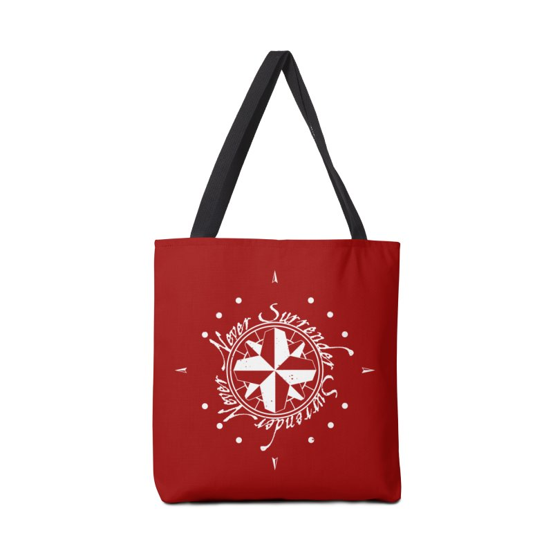 Never Surrender in white  Accessories Bag by Calahorra Artist Shop