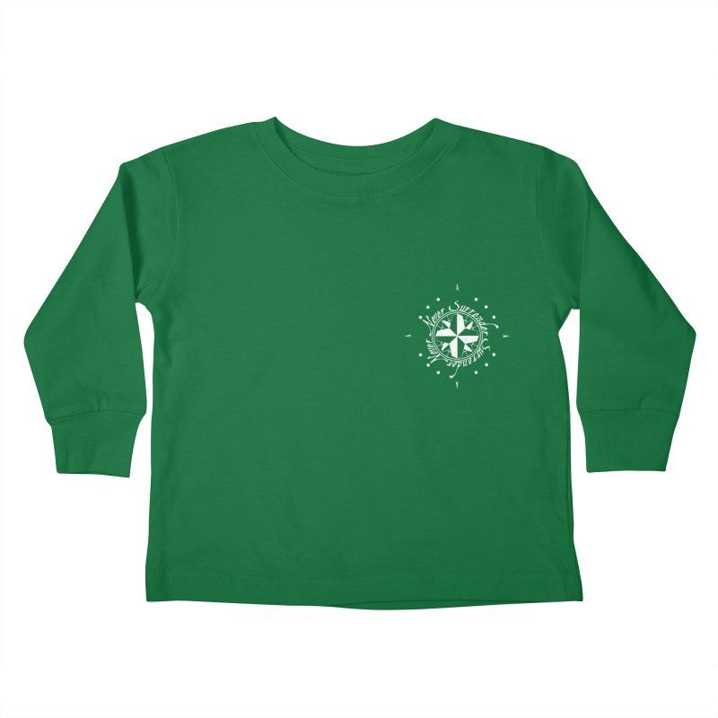 Never Surrender in white pocket Kids Toddler Longsleeve T-Shirt by Calahorra Artist Shop