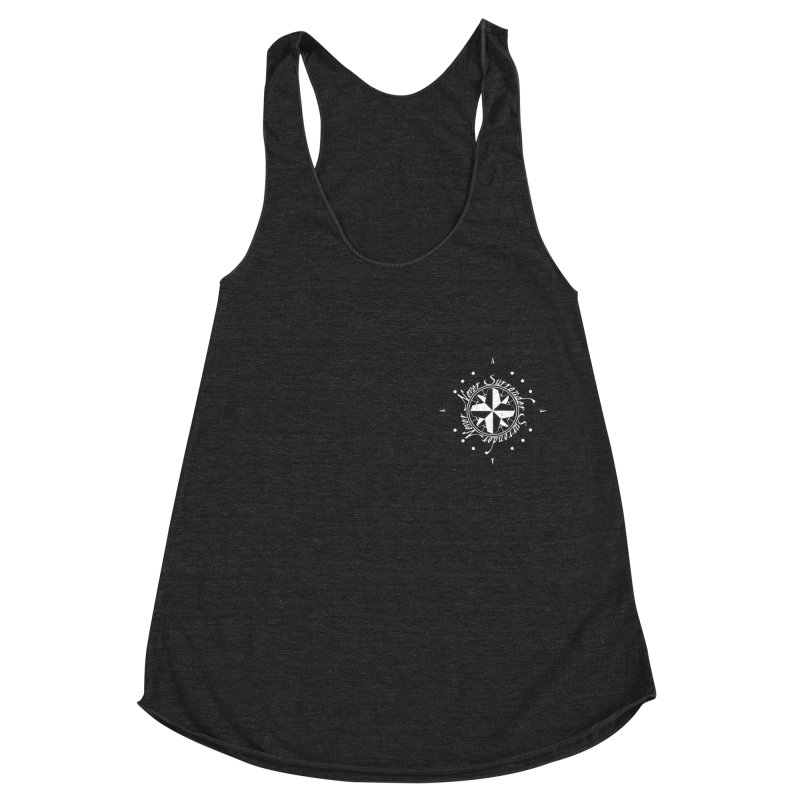 Never Surrender in white pocket Women's Racerback Triblend Tank by Calahorra Artist Shop