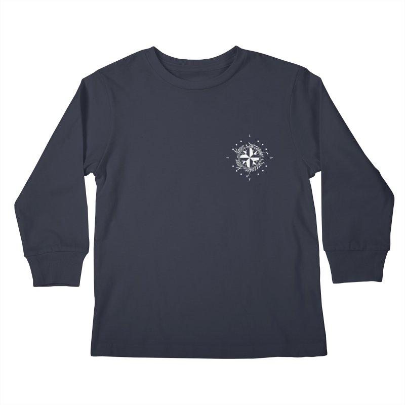 Never Surrender in white pocket Kids Longsleeve T-Shirt by Calahorra Artist Shop