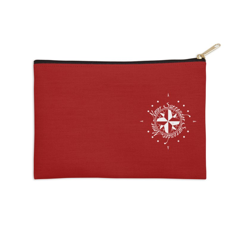 Never Surrender in white pocket Accessories Zip Pouch by Calahorra Artist Shop