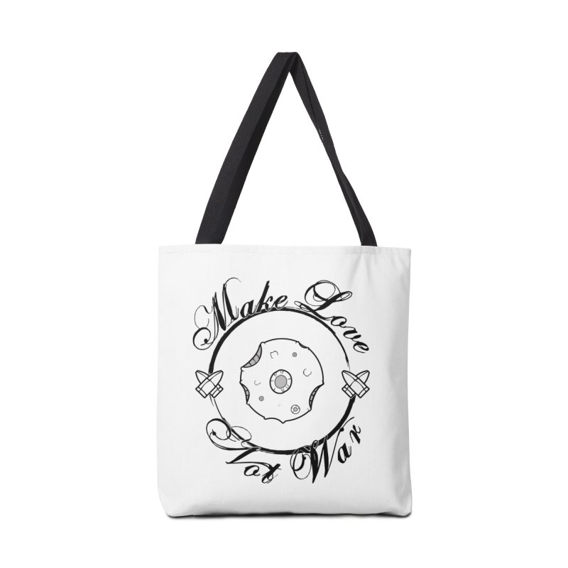 MAKE LOVE NOT WAR!!! In black outline Accessories Tote Bag Bag by Calahorra Artist Shop