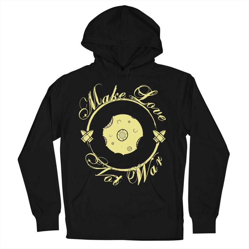 MAKE LOVE NOT WAR!!! In yellow Men's French Terry Pullover Hoody by Calahorra Artist Shop