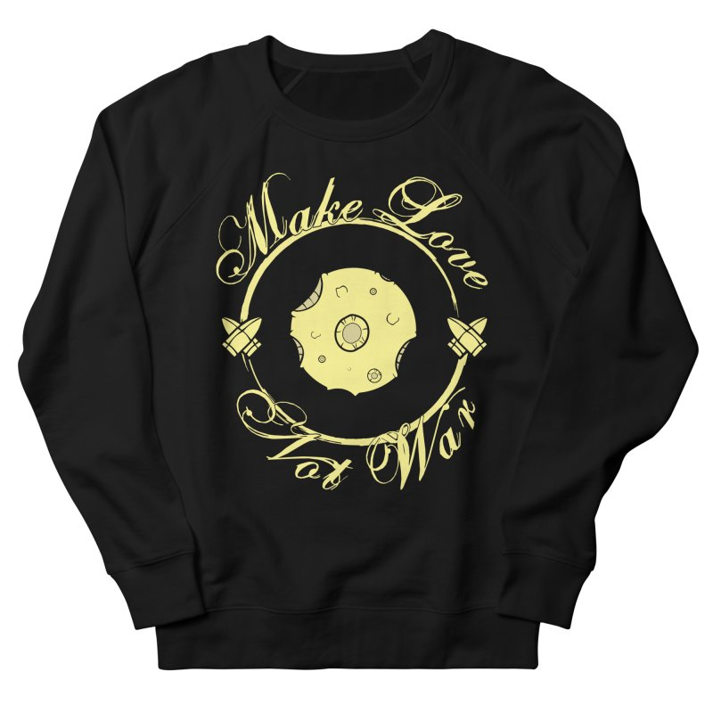 MAKE LOVE NOT WAR!!! In yellow Men's French Terry Sweatshirt by Calahorra Artist Shop
