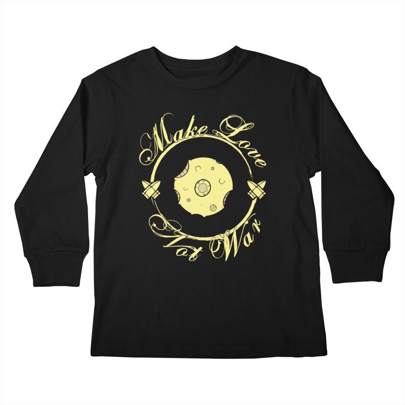 MAKE LOVE NOT WAR!!! In yellow Kids Longsleeve T-Shirt by Calahorra Artist Shop