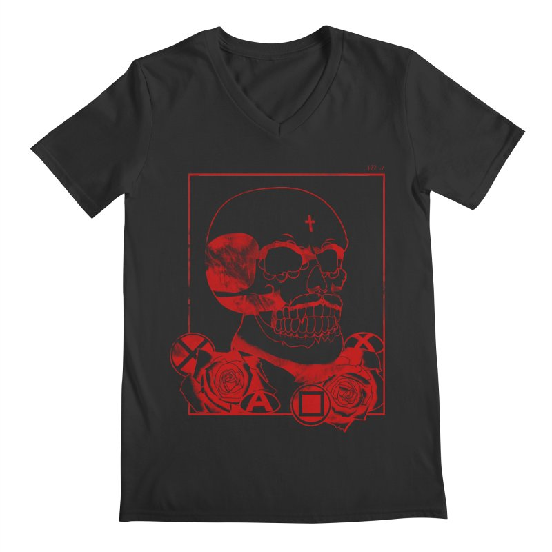 No. 3 in red outline Men's V-Neck by Calahorra Artist Shop