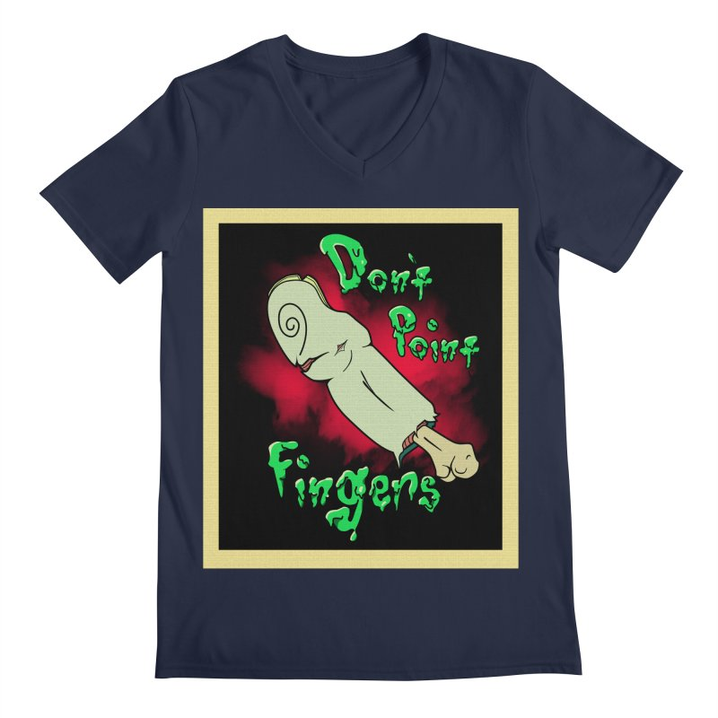 Don't Point Fingers!!! in blue Men's V-Neck by Calahorra Artist Shop