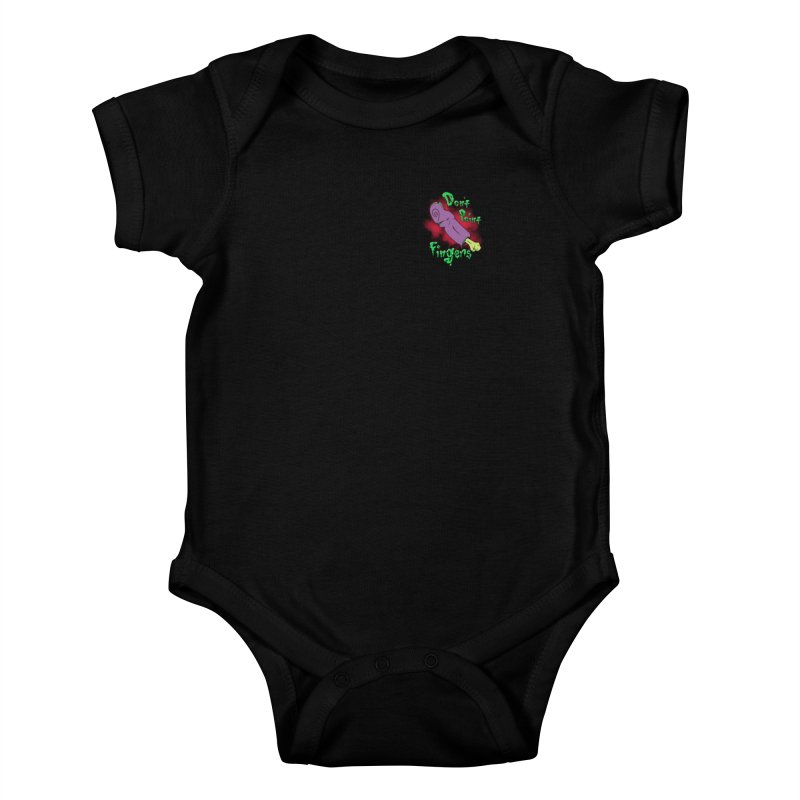 Don't Point Fingers!!! in purple pocket version Kids Baby Bodysuit by Calahorra Artist Shop